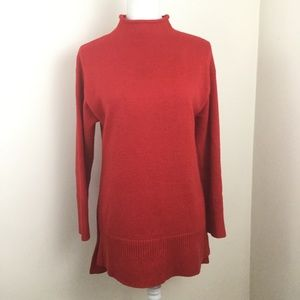 Anthropologie Moth Red Sweater Tunic Mock Neck